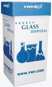 Avfallsbeholder for knust glass