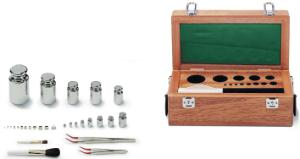 Calibration weight sets in wooden boxes, Class F2